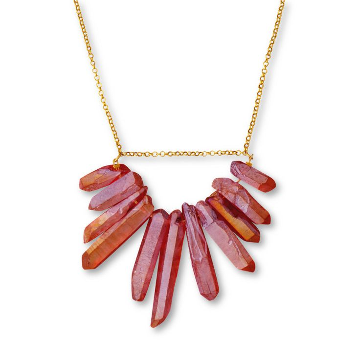 Crystal quartz necklace deep pink/ Jewelietta