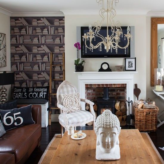 Living Room With Bookcase Wallpaper Not Sure What To Do With An Alcove  Space? A
