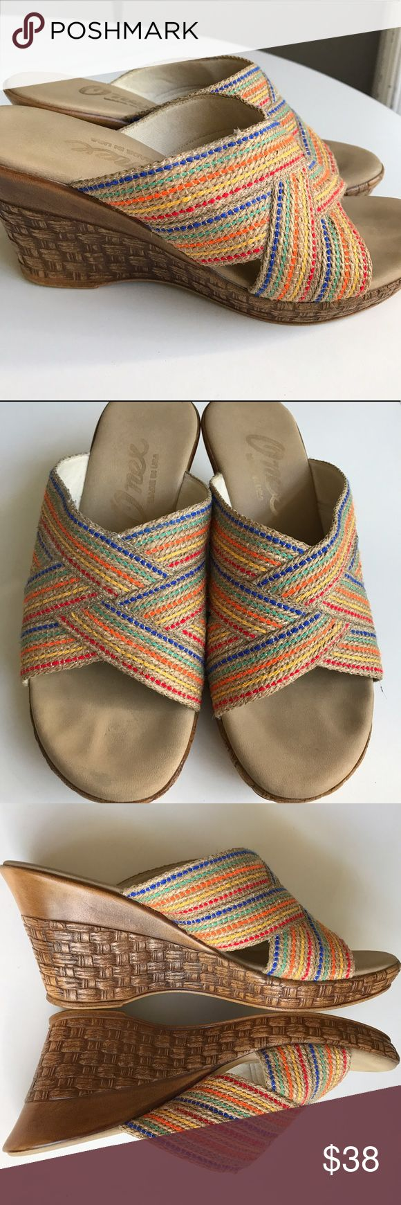 ONEX WEDGES The perfect Spring/Summer wedge. Slip on, comfy. Perfect to throw on n go or to add a splash of color. Gently worn💜made in USA Onex Shoes Wedges