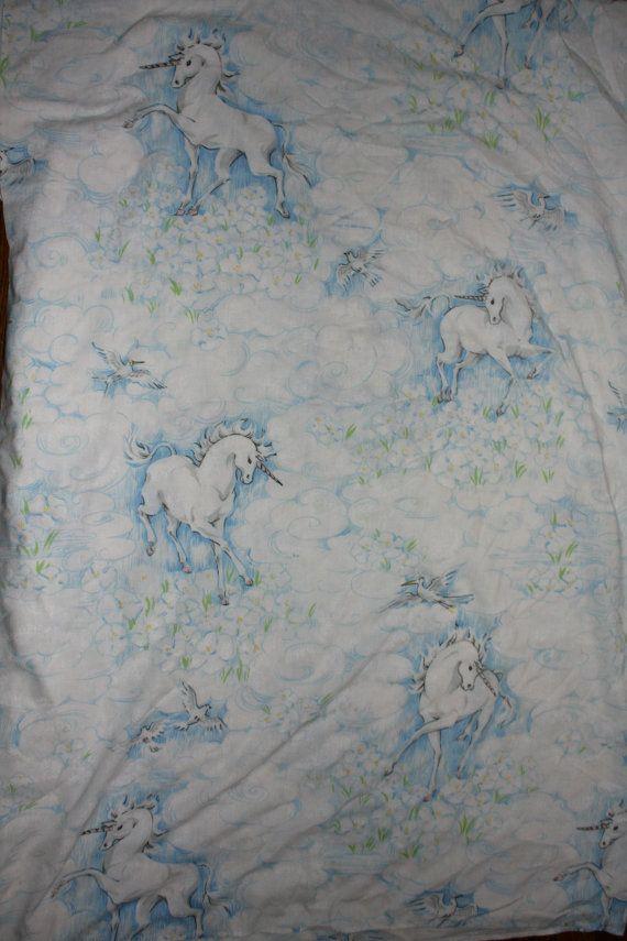 Vintage Unicorn Bed Sheet. 1980s Whimsical White by ElevatedWeirdo