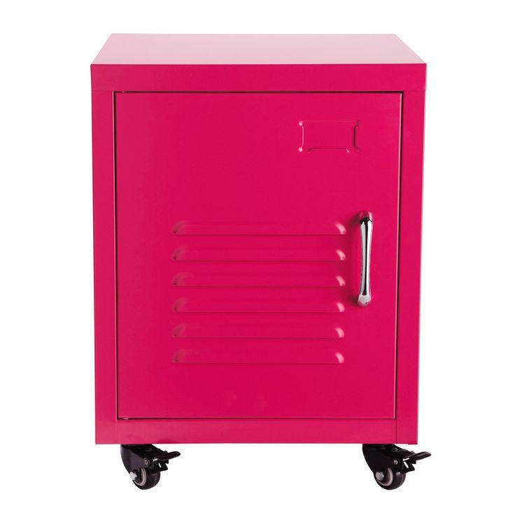 Comodino rosa a rotelle in metallo L 37 cm