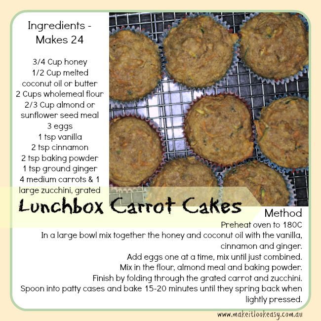 These little carrot cakes are a perfect addition to lunchboxes.  #lunchbox https://www.facebook.com/makesitlookeasy