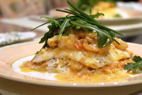 Flounder and Shrimp with Spicy Coconut-Lemon Sauce. One of my husband ...