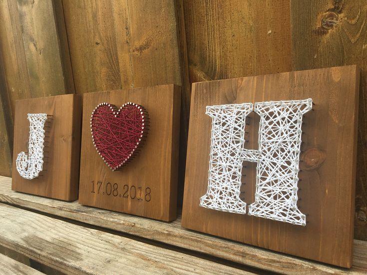 Hochzeitsgeschenk Initialien und Herz Fadenbild auf Holz