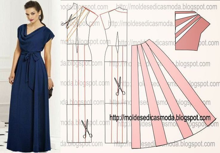 TRANSFORMAÇÃO DO MOLDE DE VESTIDO Desenhe o molde base de vestido, frente e costas. Prolongue a linha do ombro nas frentes e costas. Junte as linhas do omb