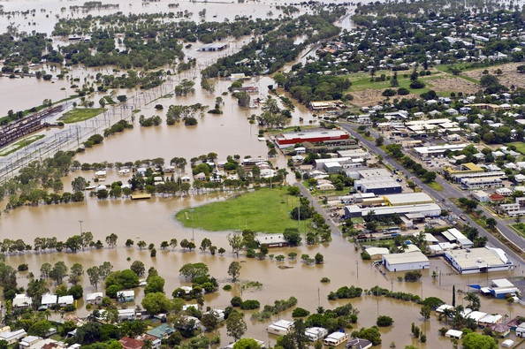 Aerial Views Of The Flooding In Rockhampton, Queensland Jan 2011