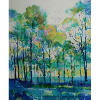 Doug Eaton - Tall Trees 2 - Acrylic on canvas 100 x 120cm  Painting reference 014-015