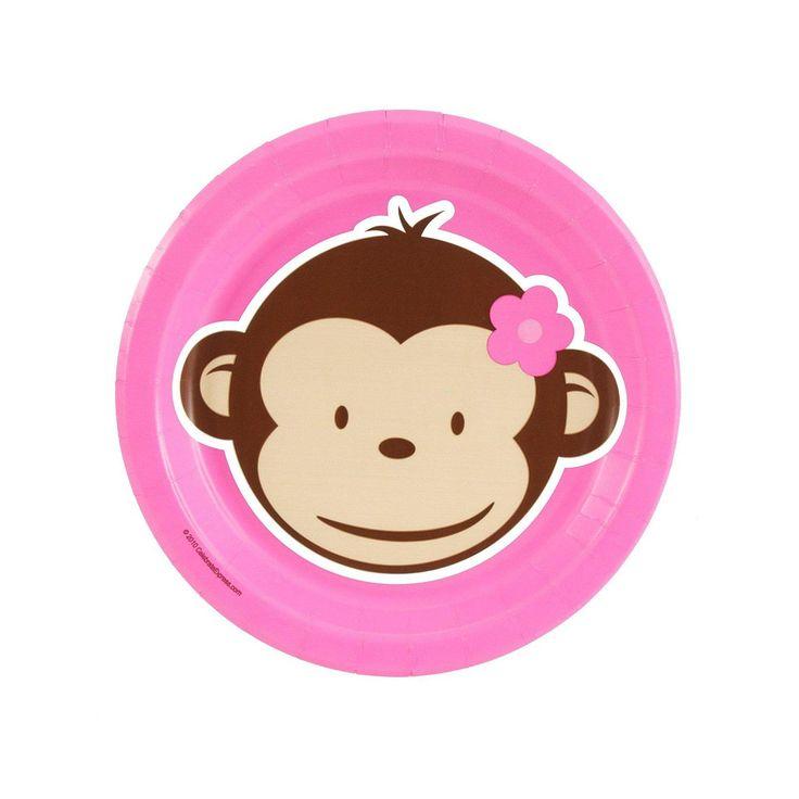 Pink Mod Monkey Dessert Plates from BirthdayExpress.com