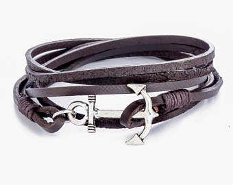 Mens Anchor Bracelet Leather Men Cuff For Wrap