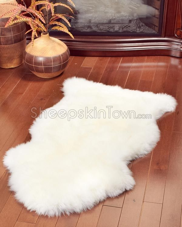 ivory white sheepskin rug 2x35 ft