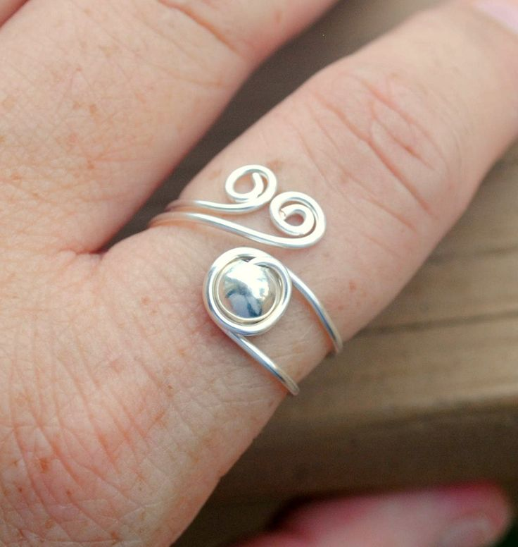 Wire Wrapped Ring Silver Beaded Spirals