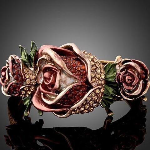 Gorgeous Vintage Style Roses Hinged Bangle with Swarovski Crystals $24.99