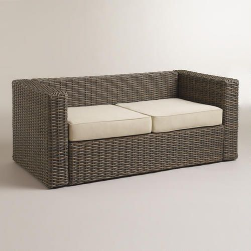 WorldMarket.com: Formentera All Weather Wicker Bench With Cushions Overall:  31.5