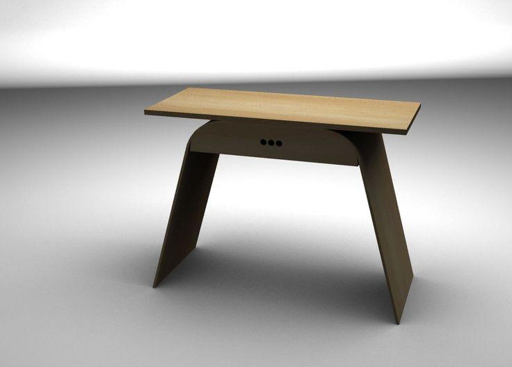Nábytek do studentského pokoje (klauzurní zkouška 2013) - psací stůl z ohýbané překližky