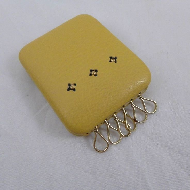 Vintage Key Chain Hard Case Key Wallet Yellow Leather Women's 6 Loop #Unbranded