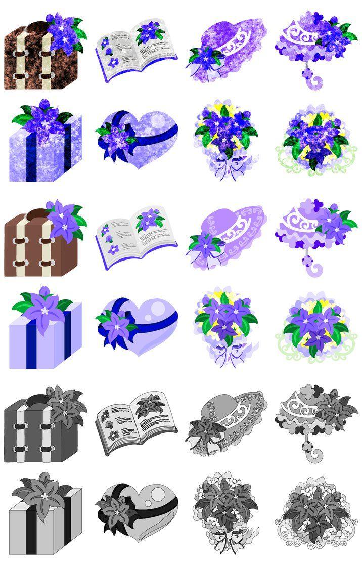 フリーのイラスト素材「紫の花の可愛いアイコン / Cute Icons of purple... イラスト