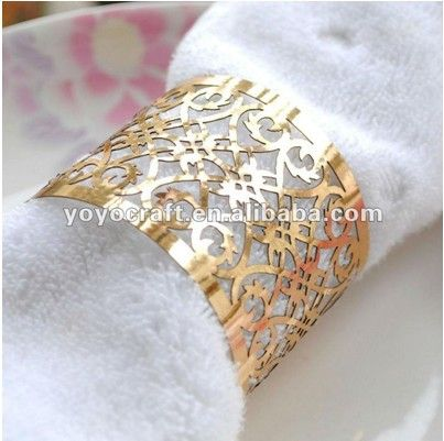 laser cut party supply favor metallic gold napkin ring for weddings $66.00
