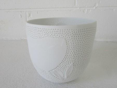 Megan Puls     Pierced + etched vessel     Porcelain     13 x 13 cm
