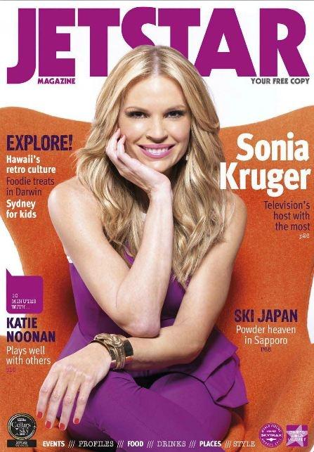 Australian television presenter Sonia Kruger is Jetstar Magazine's October covergirl.