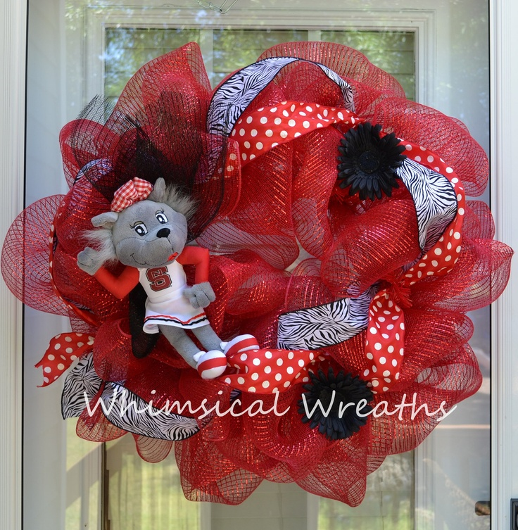NC State Wreath: Football Wreaths, State Wreath, Deco Wreaths, Nc State Crafts, Craft Ideas, Deco Mesh, Whimsical Wreaths
