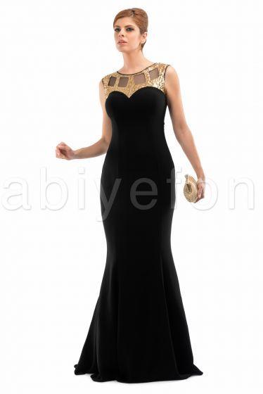 Siyah-gold uzun abiye elbise