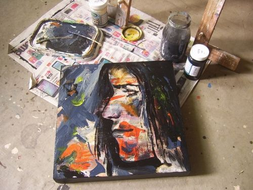 Abstract portrait painting art on canvas.  #art   #bidorbuy  #portrait #paintings  #southafricanart