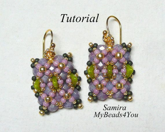 PDF Beading Tutorial Beaded Earring by mybeads4you on Etsy