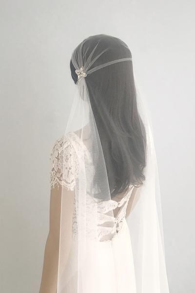 Juliet cap wedding veil with crystal beading embellishments - 'Perla' | Britten