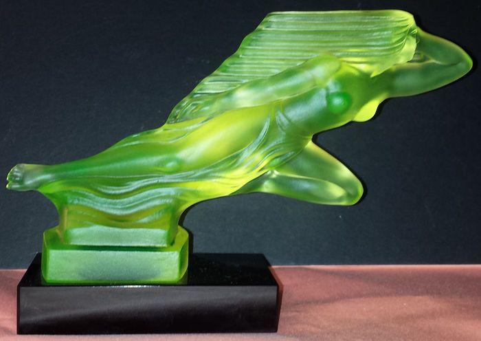 ART DECO (Bohemian) glass car mascot, Hood ornament - Designed by H. Hoffman