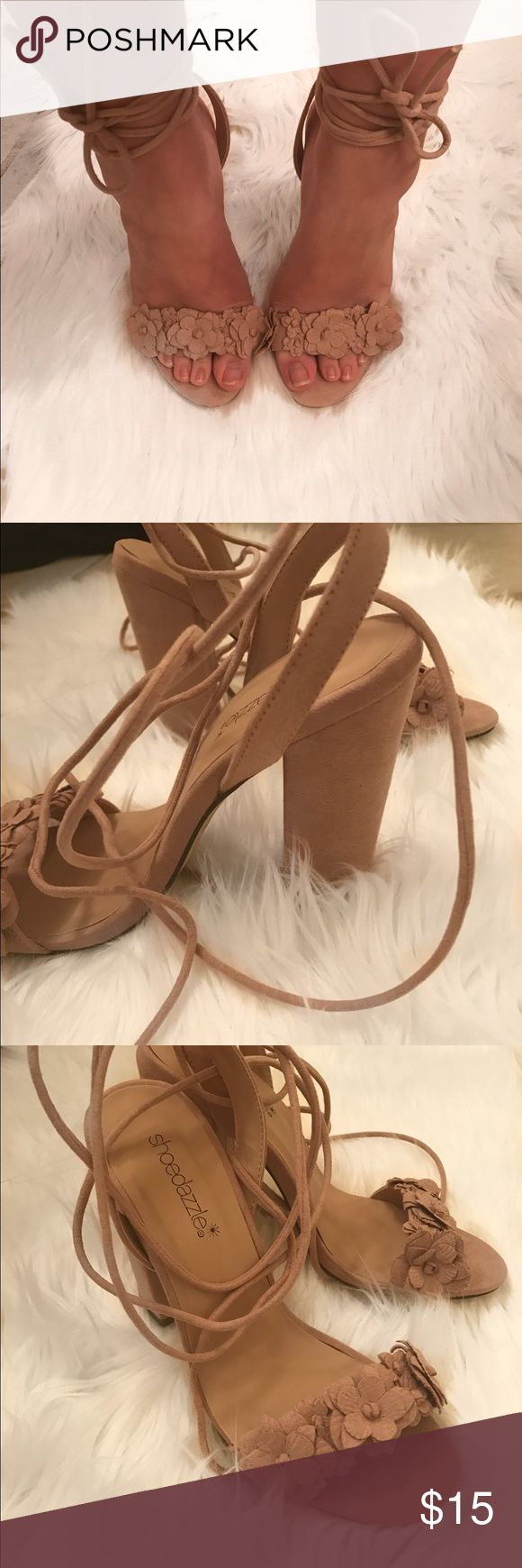 Never Worn! Shoe Dazzle Blush Heels These wrap heels are adorable!! They are suede and a blush color. Never worn! Only for try on picture. Shoe Dazzle Shoes Heels