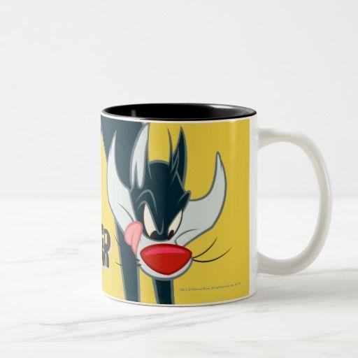 Sylvester Round Jump Two-Tone Coffee Mug. Regalos, Gifts. Producto disponible en tienda Zazzle. Tazón, desayuno, té, café. Product available in Zazzle store. Bowl, breakfast, tea, coffee. #taza #mug #LooneyTunes