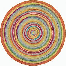 Thick Textures And Bright Colors Make This Round Rug Concentric Squares Plush Cheerful