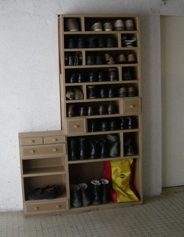 SG Mobilier Carton, meuble à chaussures en carton   www.mobilier-carton-sur-mesure.com
