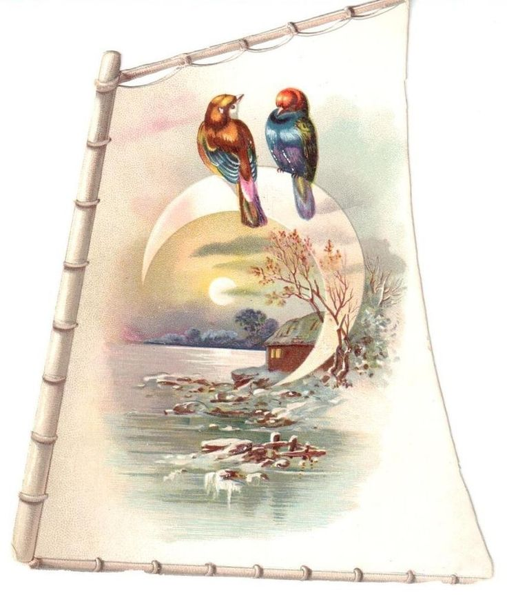 ANTIQUE SAIL DIE CUT BIRDS MOON COTTAGE LAKE SNOW: