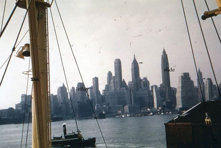 1957 Lower Manhattan View from Cruise Ship 35mm Slide