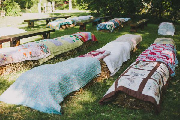 hay bale seating | Angela Cox
