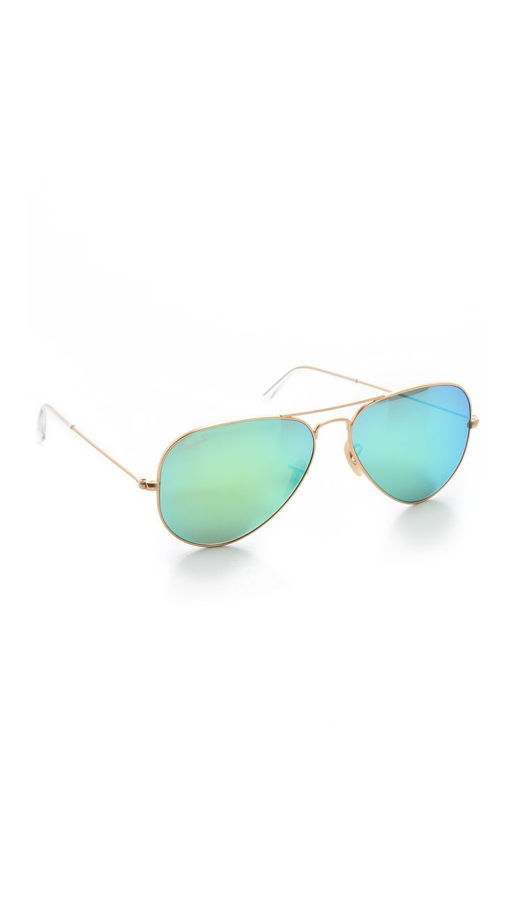 Ray-Ban Mirrorred Matte Classic Aviators // Color: Matte Gold/Green Mirror