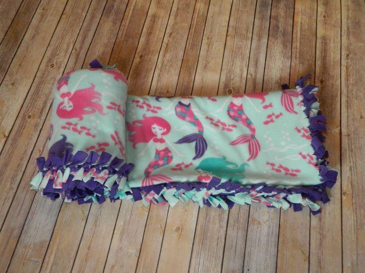 "Beautiful Mermaids Pattern No-Sew Blizzard Fleece Blanket 52"" x 55""  #HandmadeByErinn"