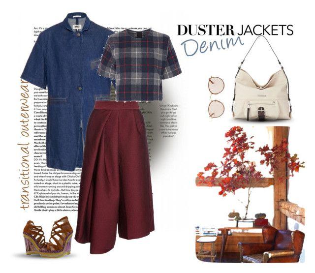 """denim duster jacket"" by culimanna on Polyvore featuring moda, MM6 Maison Margiela, TIBI, Dana Buchman, Ray-Ban, rag & bone e Christian Louboutin"