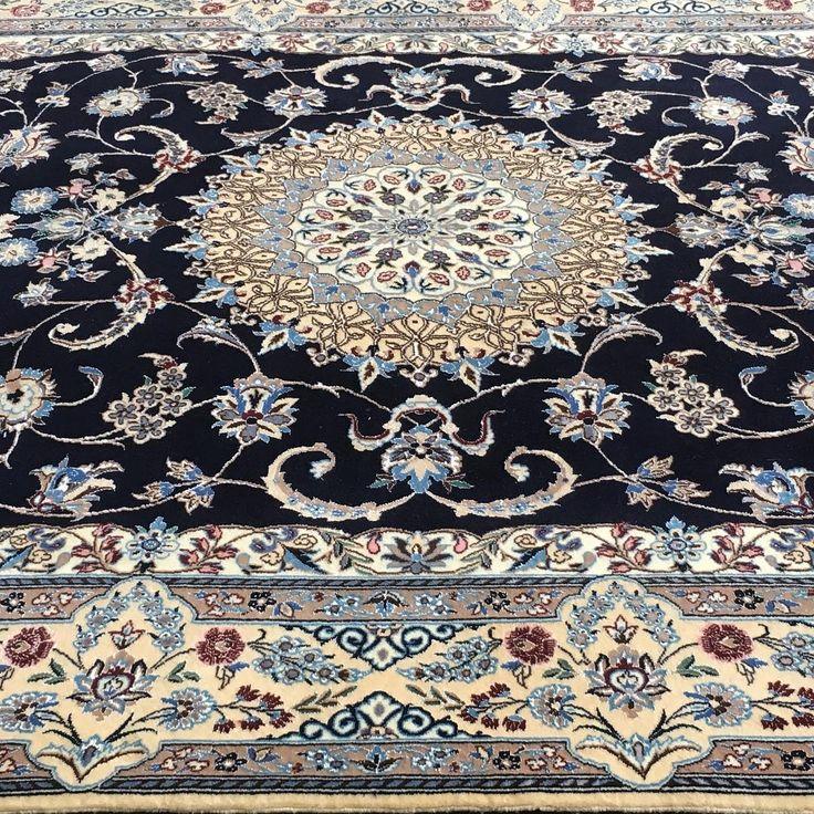 Fine wool & silk Nain Persian rug.  #wool #silk #Nain #persianrugs #rug…