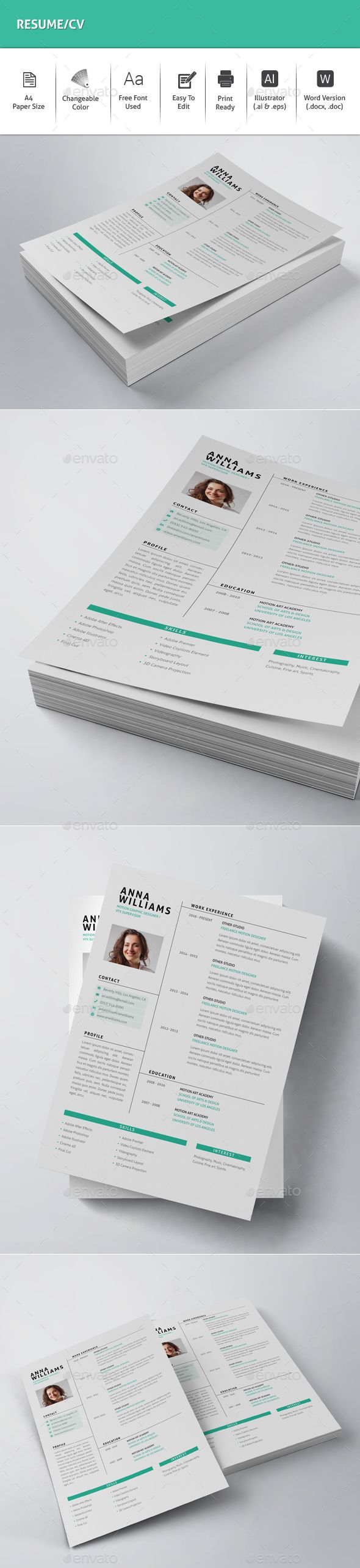 Resume CV Template Vector EPS AI