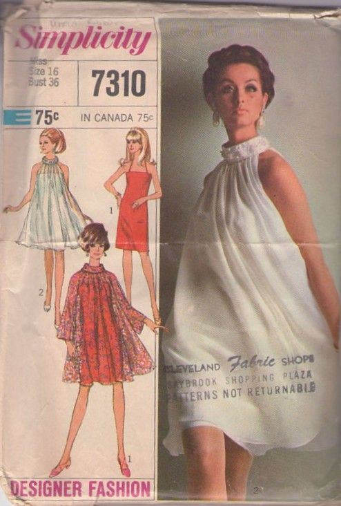1960's: Vintage Sewing Patterns, Fashion, Simplicity 7310, 1960S, Vintage Patterns, Tent, Slip Dresses, Dresses Patterns, 1960 S