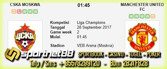 Prediksi Skor Bola CSKA Moskwa vs Manchester United 28 Sep 2017 Liga Champions di VEB Arena (Moskva) pada hari Kamis jam 01:45 live di SCTV