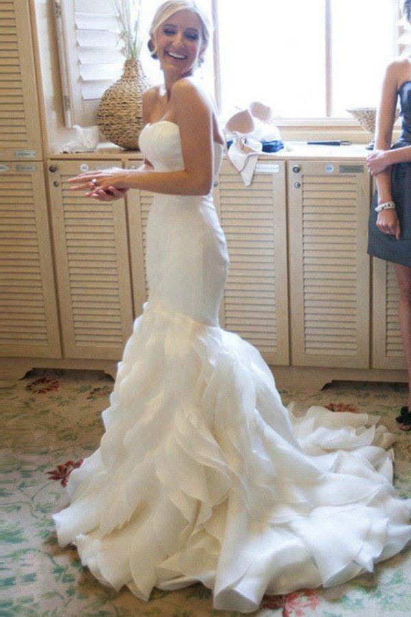 Mermaid Sweetheart Court Train Organza Wedding Dresses  WD025