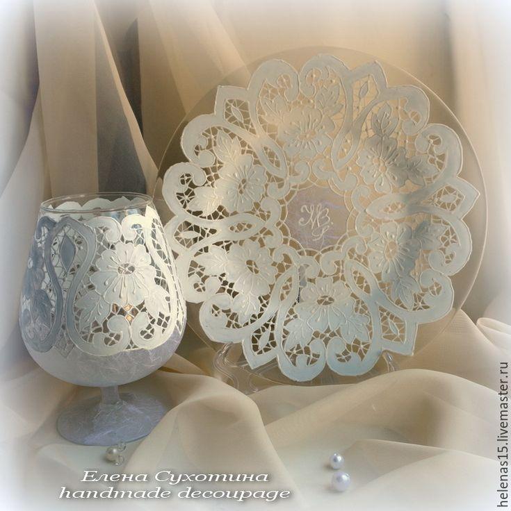 Купить Комплект с Вашей монограммой Тарелка и ваза-подсвечник - белый, ваза, ваза-бокал, подсвечник