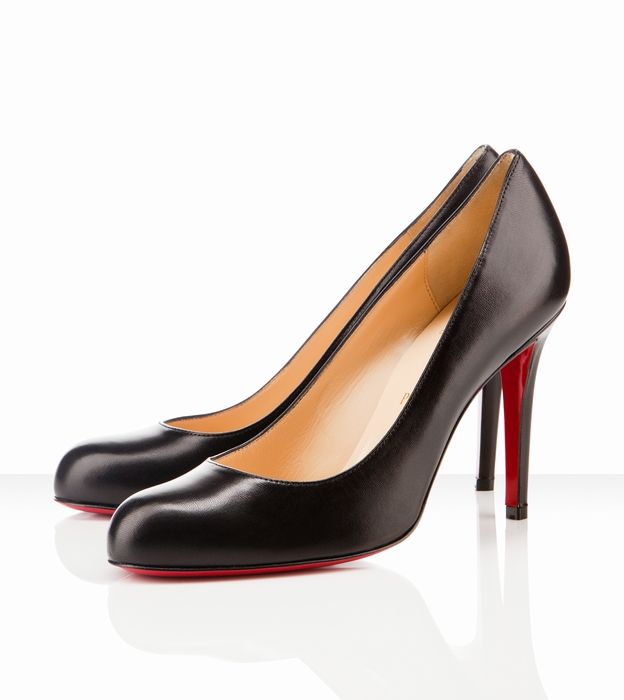 ㊣☄¬ Christian Louboutin Simple Pump 100mm Black Leather ,↔❤↔→ From Top Fancy.com  \(^o^)/~