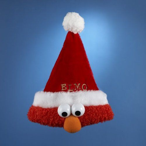"13"" Sesame Street Plush Red Elmo Christmas Santa Claus Hat:Amazon:Home & Kitchen"