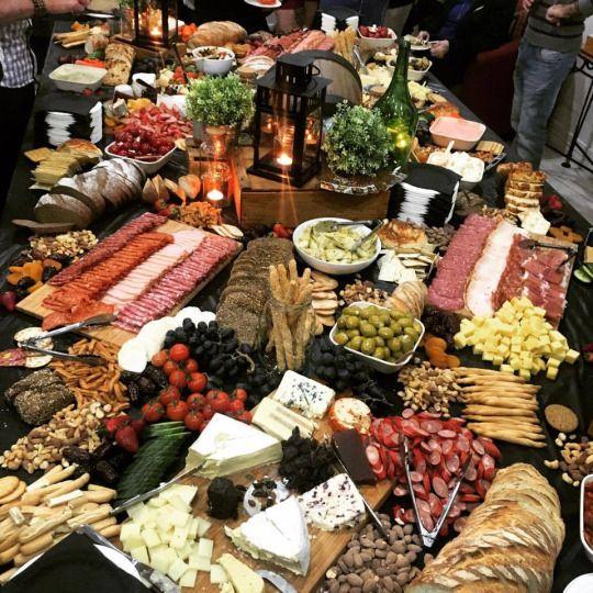 Antipasto table spread