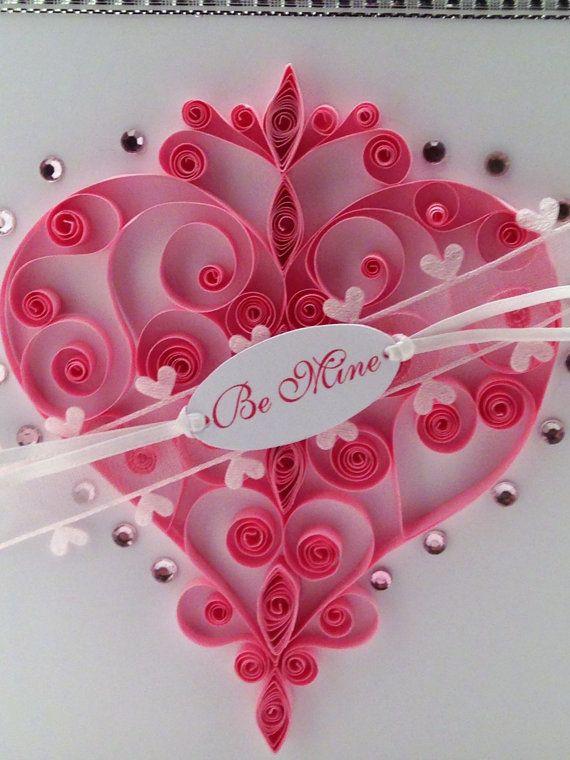 Quilled Heart Swirly Pink Paper Valentines Day by GigisHandcrafts, $15.95