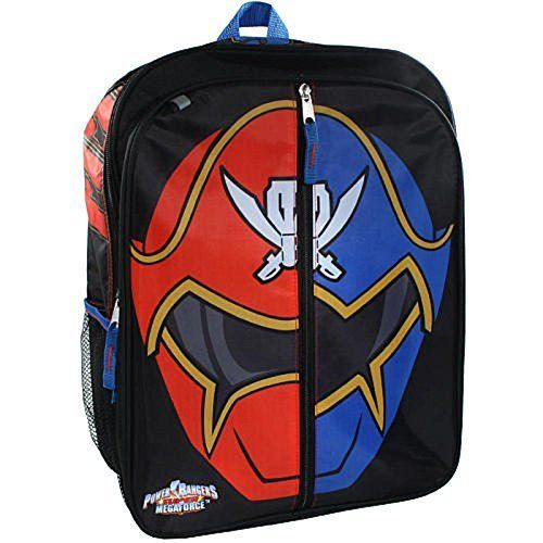Power Rangers Boy's 16 inch Backpack - Red/Blue Ranger Helmet. 16 inch x 12 inch x 5 inch Single compartment polyester backpack with sublimation print. Front pocket features Red/Blue Ranger helmet that unzips to reveal Megazord.